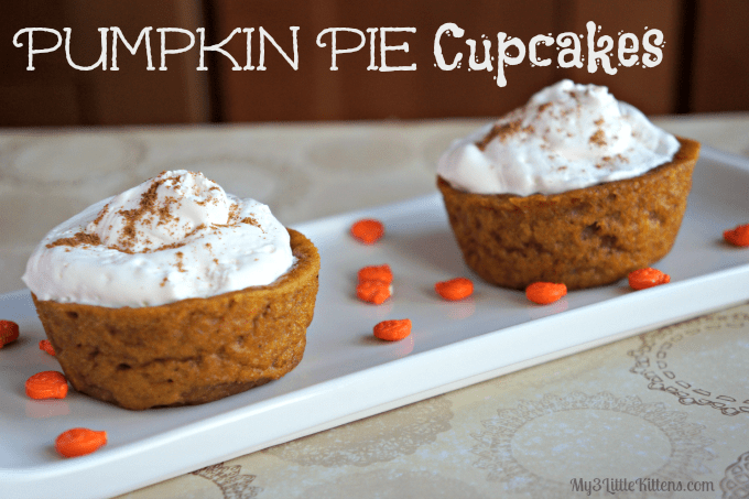 Pumpkin Pie Cupcakes - My 3 Little Kittens