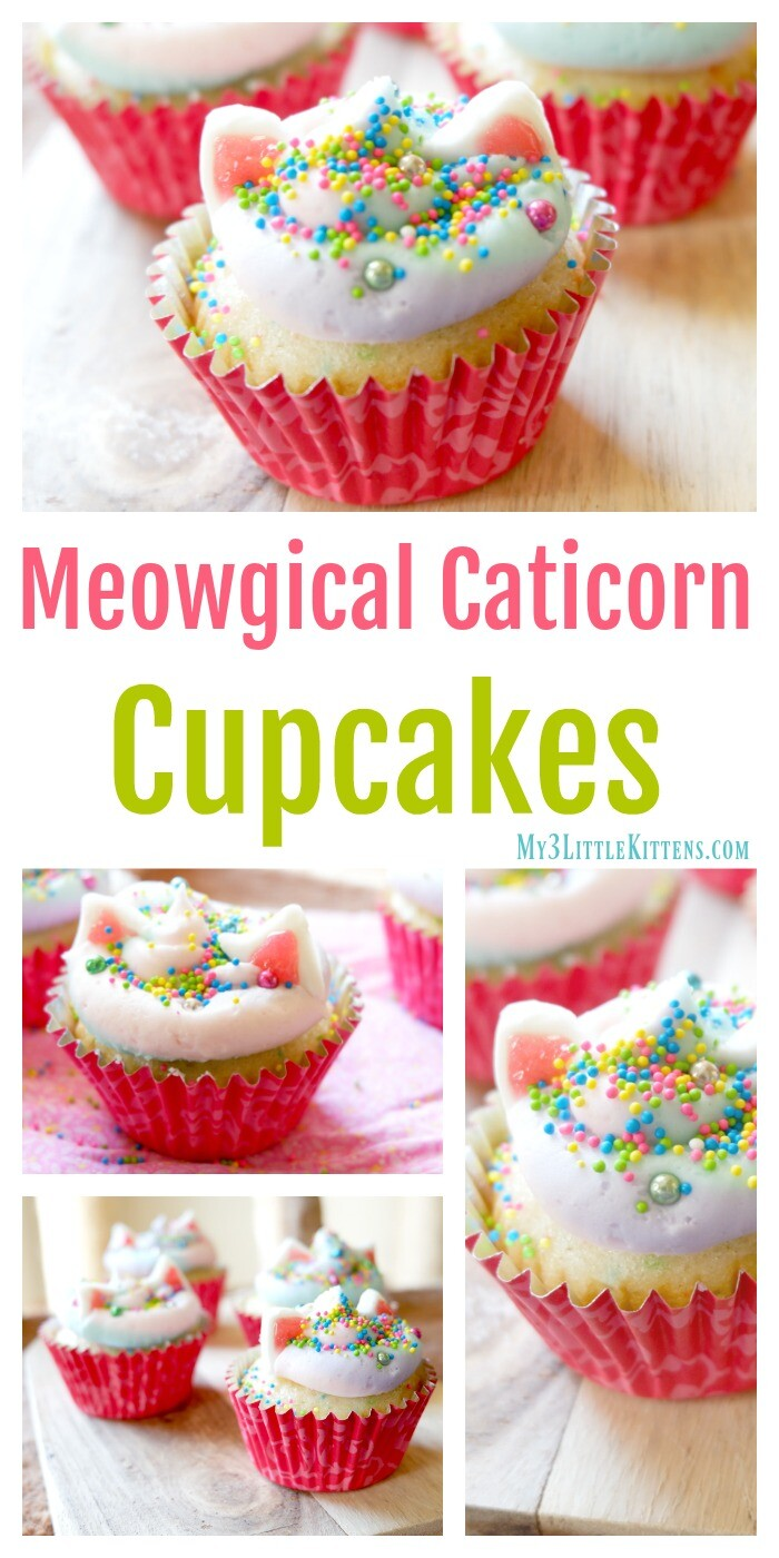 These Meowgical Caticorn Cupcakes are everything you hope for from rainbows, cats and unicorns. Kitty ears and magical sprinkles top off the fantastic!