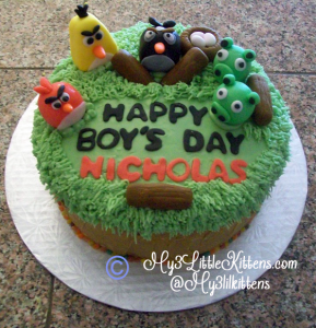For bakers archives my 3 little kittens for Angry birds cake decoration