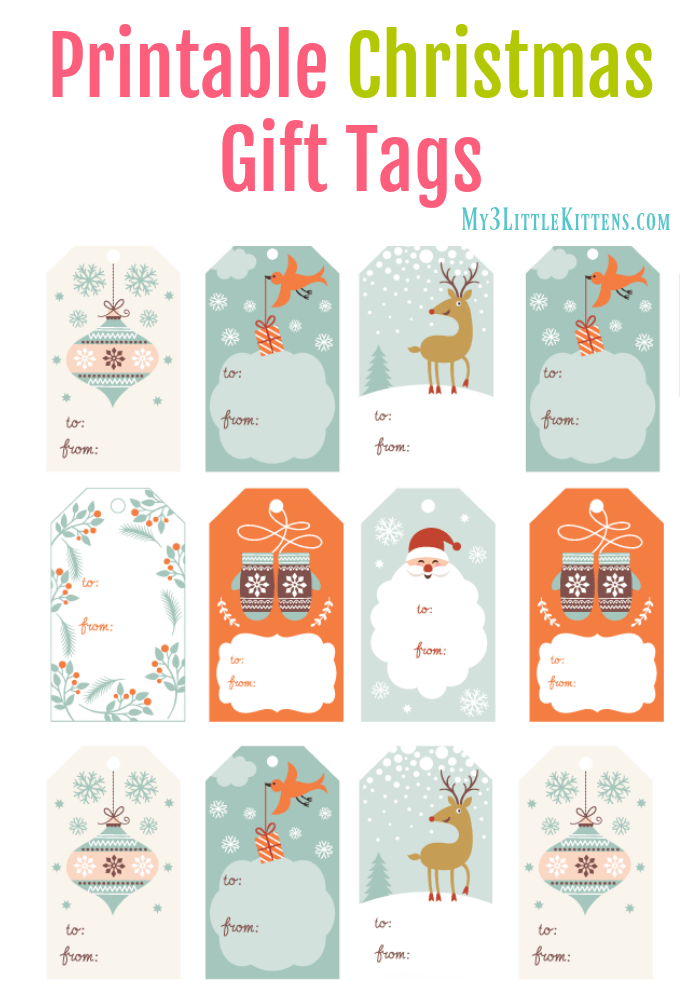 graphic about Christmas Tags Printable called Printable Xmas Present Tags - My 3 Minor Kittens