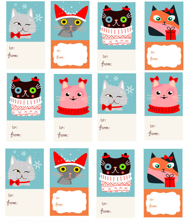Printable Christmas Name Tags.Printable Cat Christmas Gift Tags My 3 Little Kittens