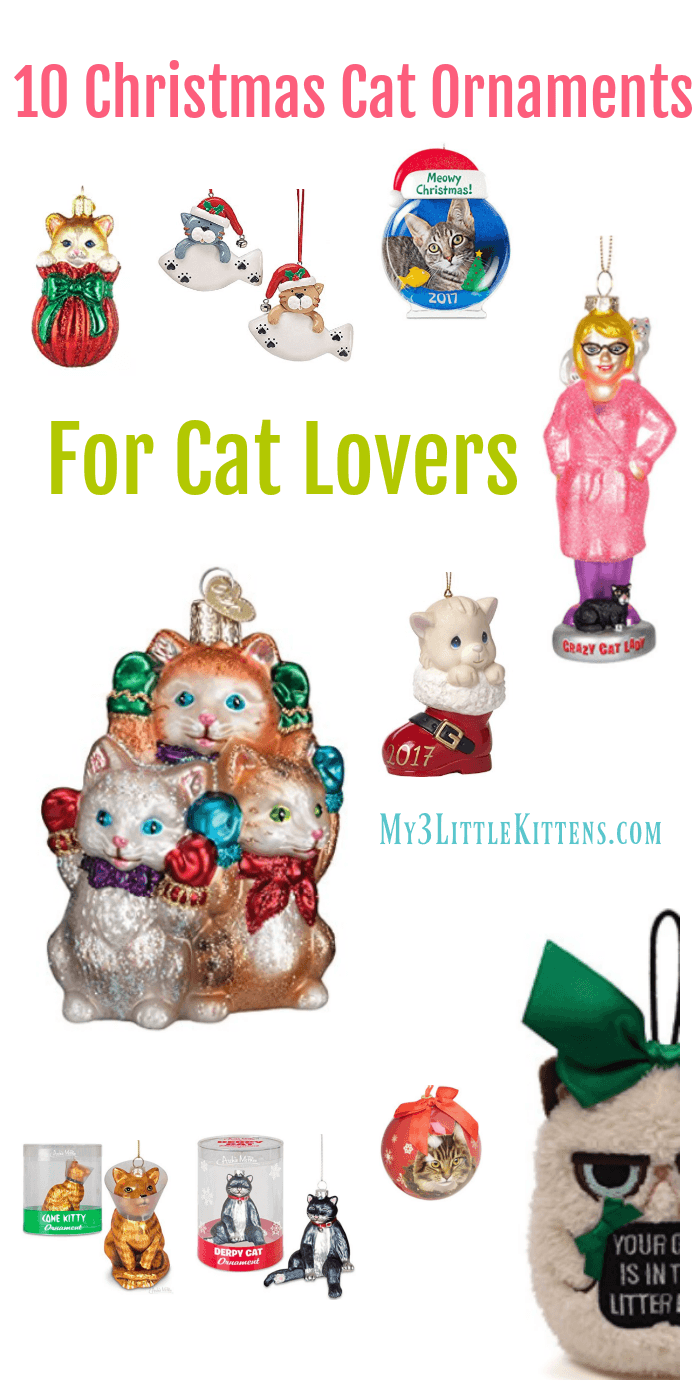 10 Christmas Cat Ornaments For Cat Lovers. Let your Christmas Tree Celebrate the Holiday Dressed with Kitty!