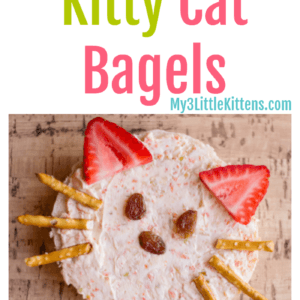 These Homemade Kid Friendly Kitty Cat Bagels Recipe is not only easy, but filled with healthy toppings!